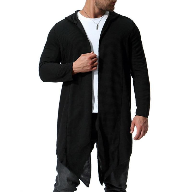 Autumn new big size long sleeve unbuttoned windbreaker hooded cardigan cloak hoodie fashion hoodies for men casual