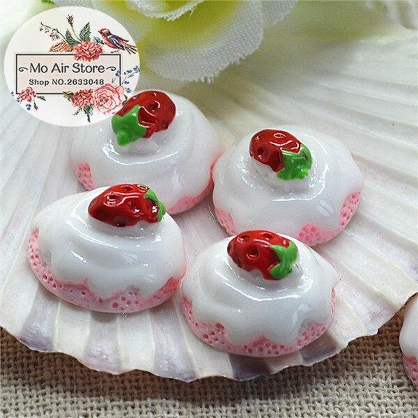 Strawberry Pink Cake 10PCS 15mm Resin Flatback Cabochon Miniature Food Art Supply Decoration Charm Craft