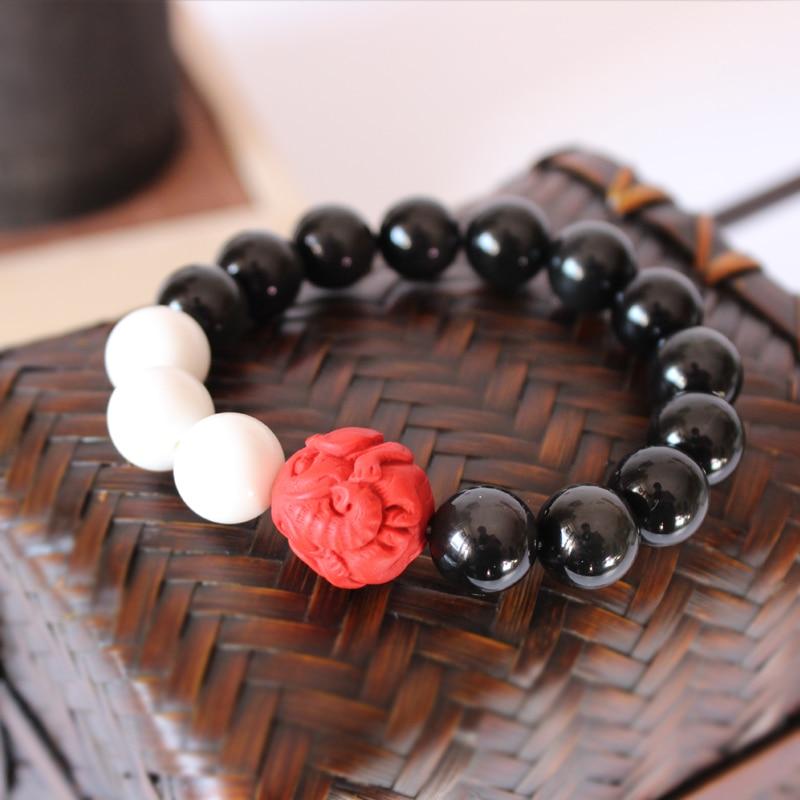 Vindem cu ridicata negru obsidian mamei de perle roșu cinabru - Bijuterii de moda - Fotografie 2