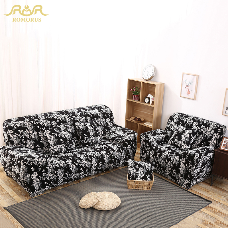 black and white floral print all inclusive sofa covers stretch full wrap entire slipcover single. Black Bedroom Furniture Sets. Home Design Ideas