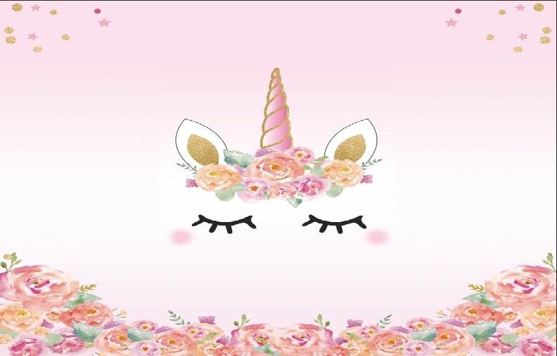 5x7ft Light Pink Flowers Unicorn Mask Face Eyes Baby