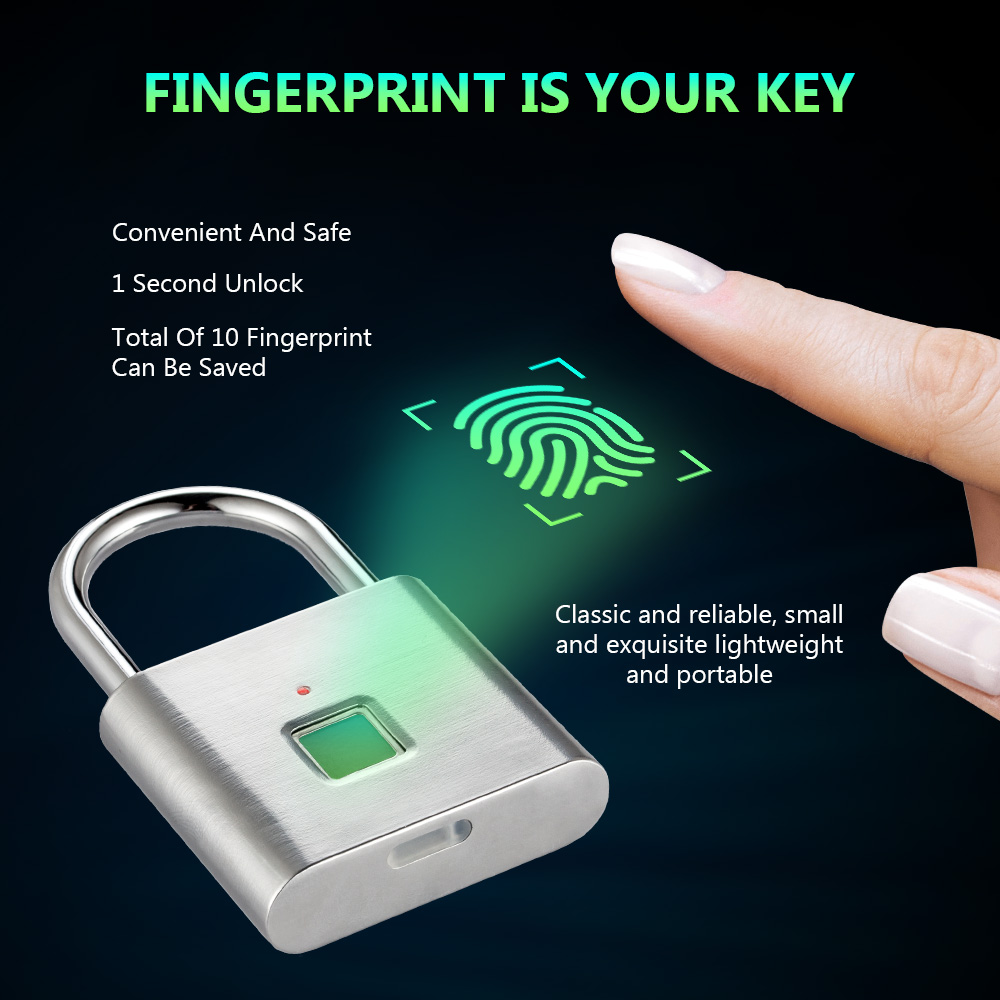 Fingerprint Lock Digital Door Lock Candado Huella Smart Security Keyless USB Rechargeable Padlock With Self Developing Chip
