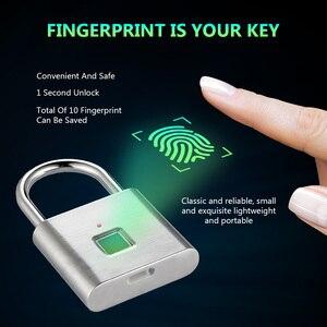 Image 1 - Parmak izi kilidi dijital kapı kilidi candado huella akıllı güvenlik anahtarsız USB şarj edilebilir asma kilit kendinden geliştirme çip