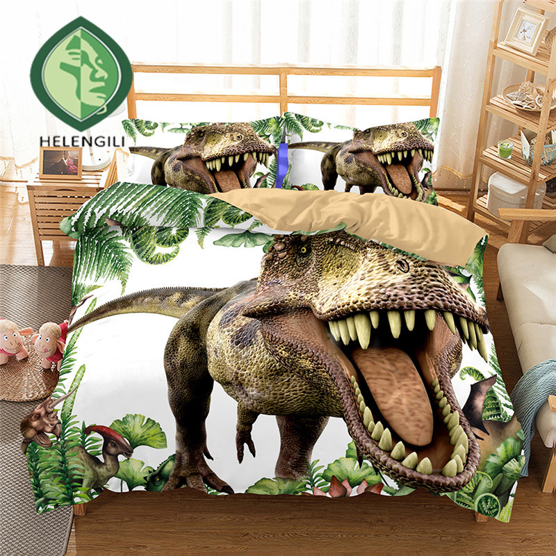 HELENGILI 3D Bedding Set Jurassic Park Dinosaur Print Duvet Cover Set Bedclothes With Pillowcase Bed Set Home Textiles #2-01
