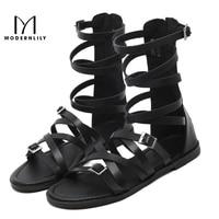 Gladiator Sandals Women Fashion Zip Black Summer Shoes PU Leather Flats Platform Beach Sandals Sandalias Mujer