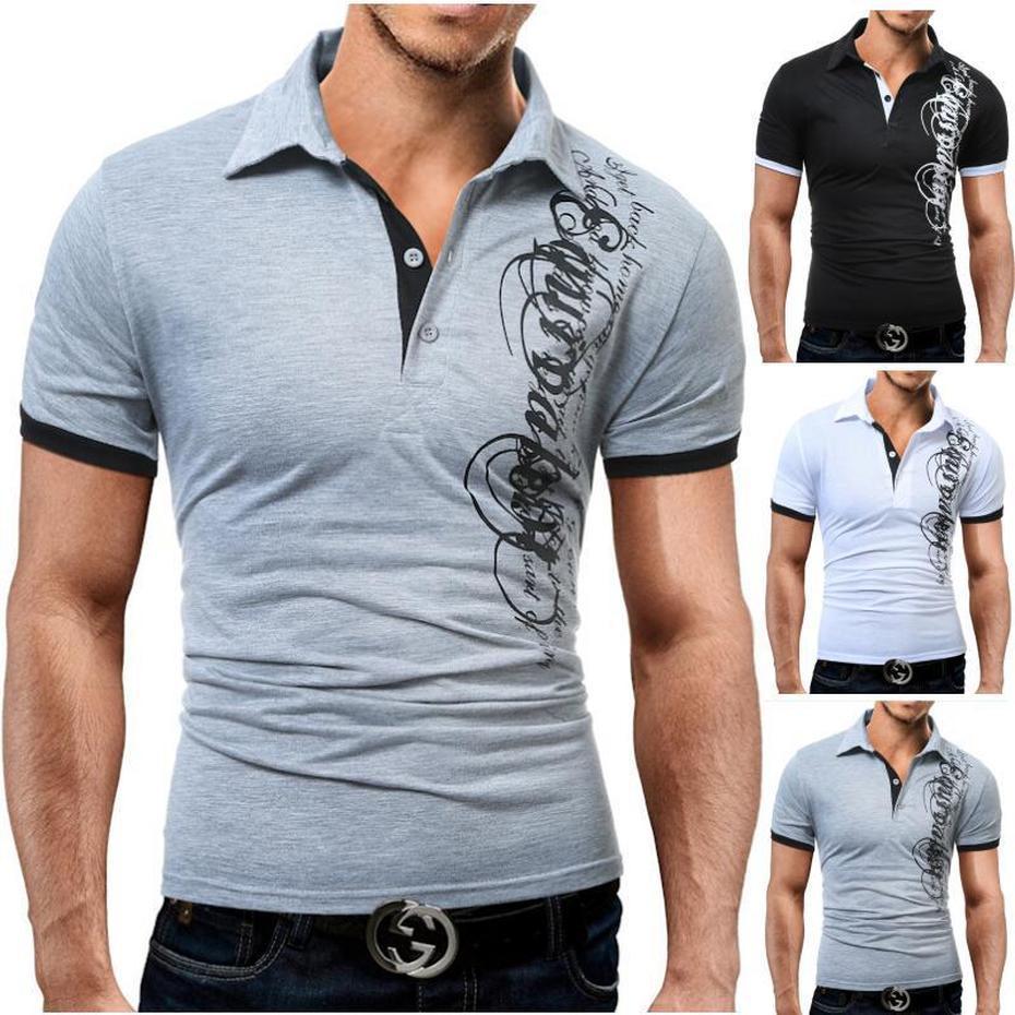 f57fad1485b ZOGAA Для мужчин рубашки поло Повседневное короткий рукав Для мужчин хлопок  Письмо печати Slim Fit Camisa Polo летние мужские футболки майка Мужской