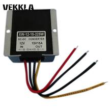 12V(9-12V) Step Up To 15V 15A 225W DC DC Car Power Converter Boost Supply Aluminum Alloy Regulator Module LED Display Waterproof(China)