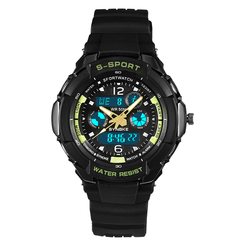 Sport Quartz Men Watches Timer LED Black Light Digital Wristwatches Alarm Chrono 50M Waterproof Outdoor Gift Black