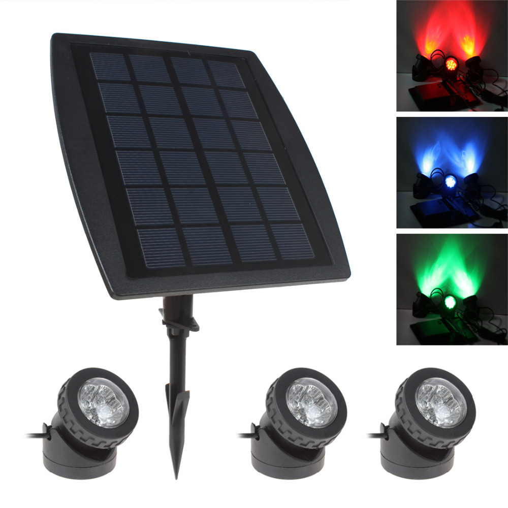 3 x RGB Color LED Solar Power Light Outdoor Waterproof ...