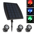 3 x RGB Color LED Solar Power Light Outdoor Waterproof Energy Saving Super Bright Garden Path Road Pool Pond Lamp + Solar Panel