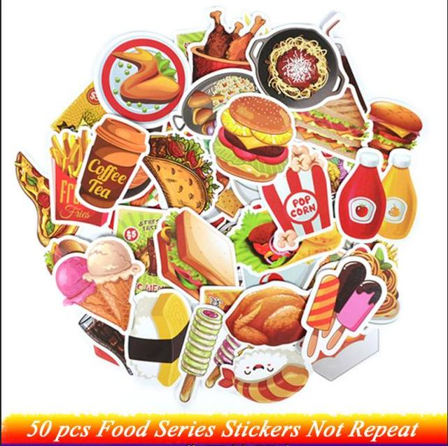 50 Pcs Fast Food Drink Stickers Cartoon Delicious Dessert Diet