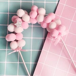 Image 5 - 1PC Pink Blue Soft Pompom Cloud Cake Topper Happy Birthday Party DIY Cake Top Flags Decoration For Cake Topper Festival New Year