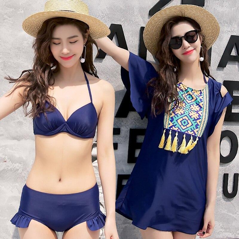 Summer new sexy sunscreen Skirt tassel three Pieces swimsuit Push Up high waist bikini swimwear beach women bathing suits