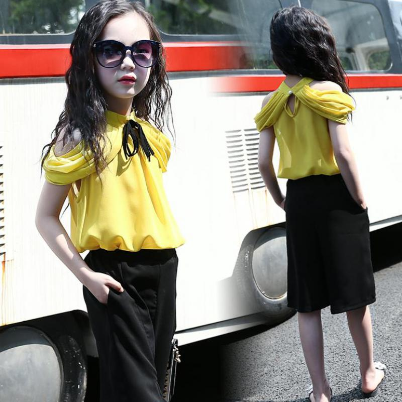 2017 Children Clothing Teenage Girls Clothing Sets Summer New Suits Tops + Wide Leg Pants Casual Fashion Kids Clothes 2 Pcs Sets high quality 5 0 for highscreen power rage lcd display touch screen glass digitizer assembly replacement free shipping