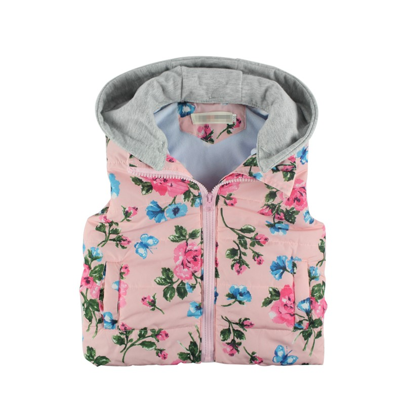 New-Children-Outerwear-Baby-Girl-Fashion-Brand-Floral-Printed-Hooded-Casual-Thick-Warm-Winter-Autumn-Vest