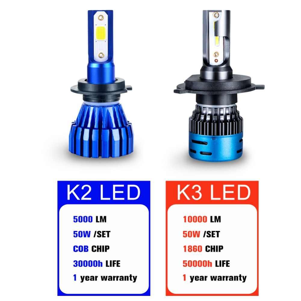 2PCS Mini H4 H7 LED Car Headlight Kit 50W 10000LM/Set H1 H11 9005 HB3 9006 HB4 H8 6000K 4300K 8000K 3000K Bulbs Car Accessories