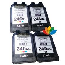 4 cartucho de tinta compatible canon 245 246 pg245 cl246 para mg2450 mg2520 mg2550 mg2920 mg2922 mg2924 ip2820 impresora de inyección de tinta