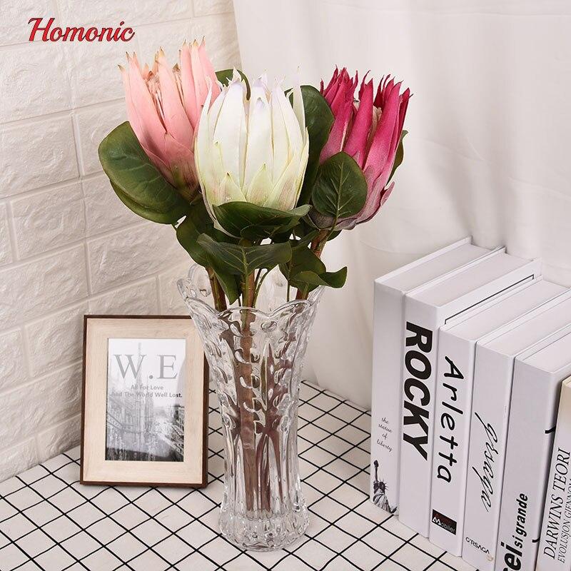 Große künstliche blumen bouquet Südafrika nationalblume Protea cynaroides Reiche herrliche Kaiser Flores Artificiales P25