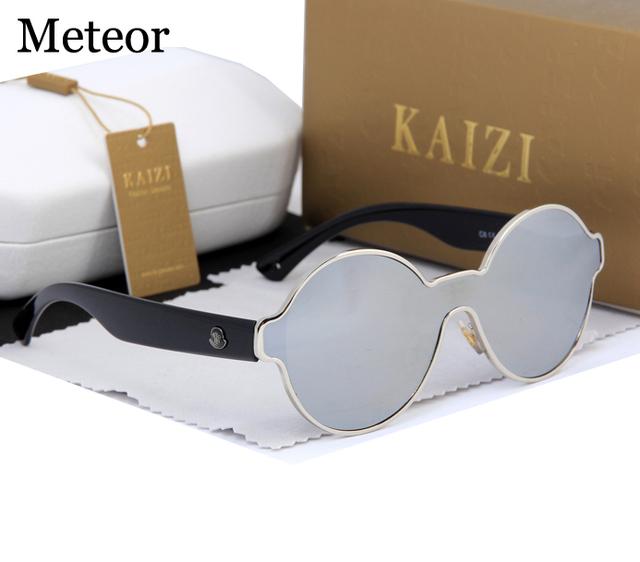 Contadores de Loja de alta Qualidade Steampunk Rodada Óculos De Sol Das Mulheres Designer de Marca de Luxo One-piece PC Lente Gradiente Óculos Mens 2017