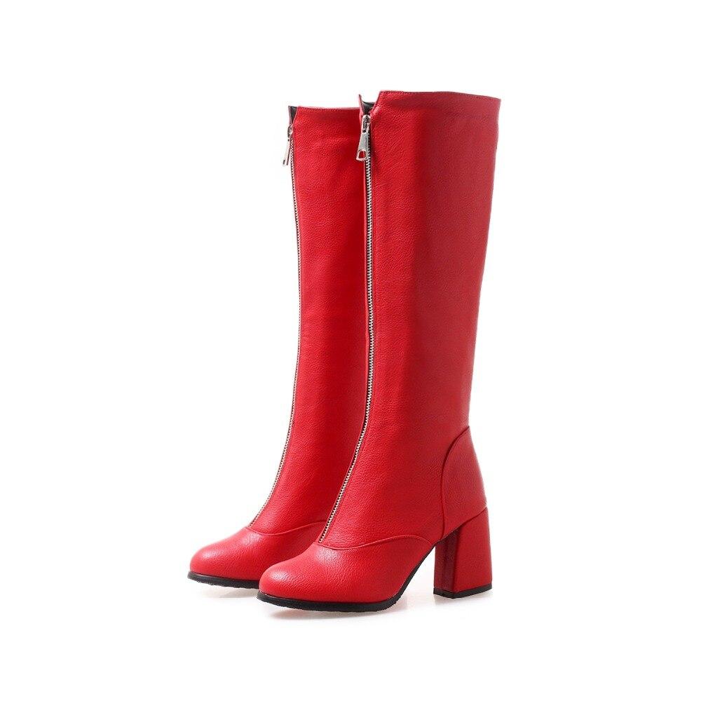 Vereinigt Vintage Frauen Echte Echtem Leder Knie Stiefel Winter Boot Sexy Platz Ferse Runde Kappe Zipper Mode Frauen Stiefel Schuhe Größe 33-40 Herrenschuhe Schuhe