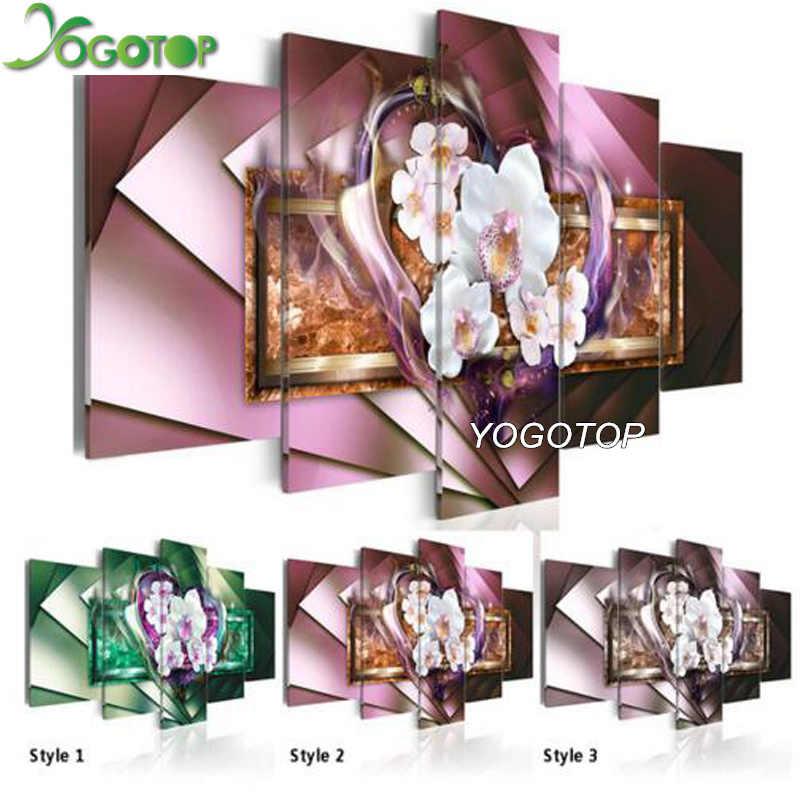 YOGOTOP DIY Elmas Boyama Çapraz dikiş kitleri Tam Elmas Nakış 5D Elmas Mozaik Dekor Aşk orkide 5 adet ML257