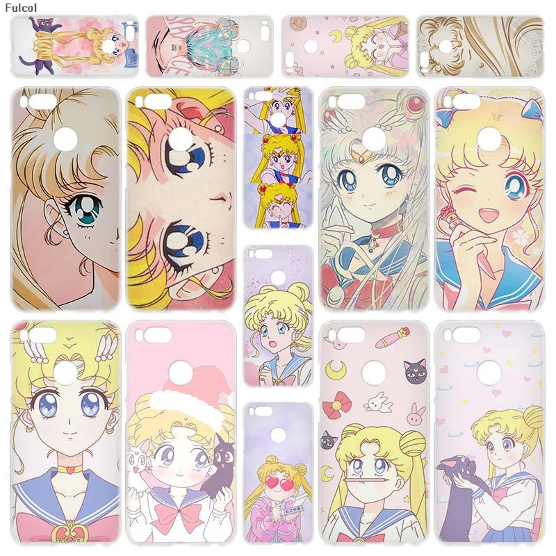 Fulcol anime sailor moon lune cat Transparent Fashion Shell case cover para for Xiaomi Redmi Note 3 4 4X 5 Puls 4A 5A 6A Mi5 A1