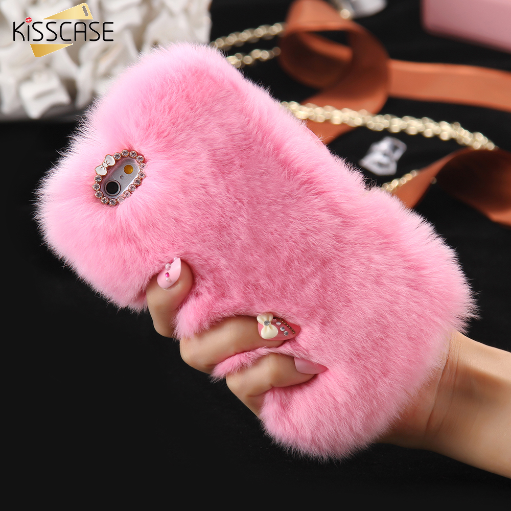 Kisscase Rabbit Hair Case For Iphone 6 6s Plus Casing Glossy Diamond 7 5 5s