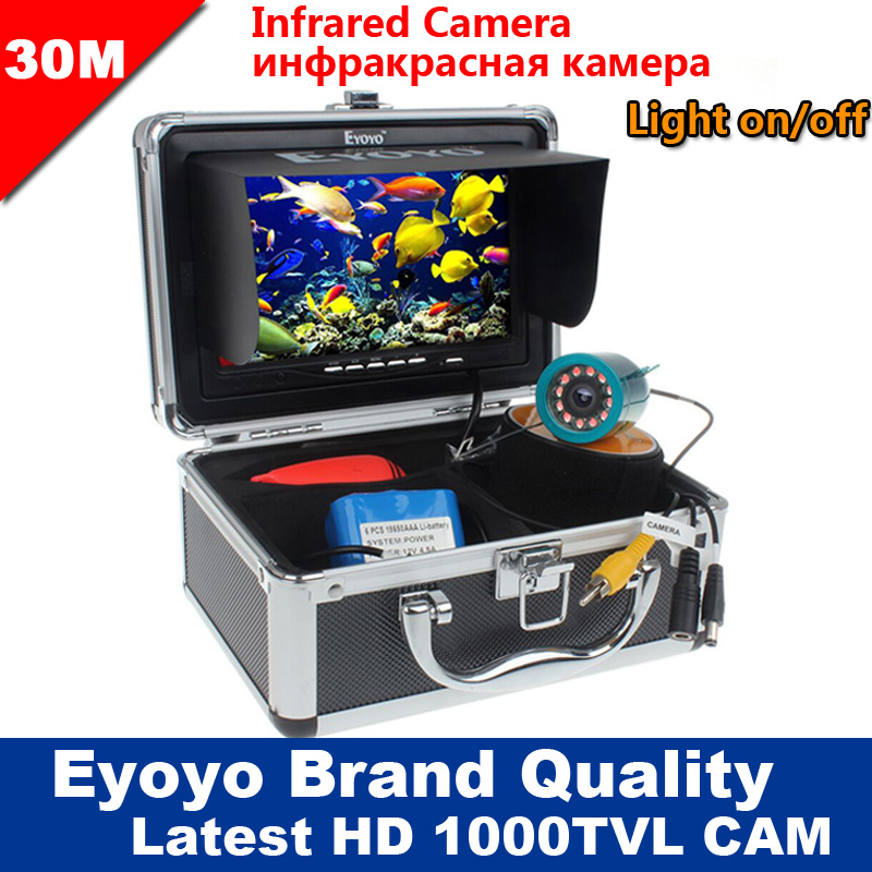 "Eyoyo Original 30M 1000TVL Zivju meklētājs Zemūdens zvejas kamera 7 ""Video monitors AntiSunshine Shielf Sunvisor infrasarkanais IR LED"