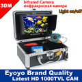 Eyoyo Original M 30 m 1000TVL buscador de peces CÁMARA DE PESCA subacuática 7 Monitor de vídeo antisol Shielf Sunvisor infrarrojo IR LED