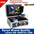 Eyoyo Original 30 M 1000TVL buscador de peces pesca submarina Cámara 7 Monitor de Video AntiSunshine Shielf visera de infrarrojos IR LED