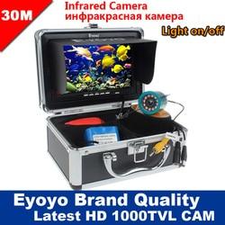Eyoyo Originale 30 M 1000TVL Fish Finder Macchina Fotografica Subacquea di Pesca 7 Monitor Video AntiSunshine Shielf Parasole A Raggi Infrarossi IR LED