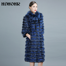 HDHOHP 2017 New 100% Real Silver Fox Fur Coat Winter Casual Jackets For Women 100cm Long Style  Genuine Coats