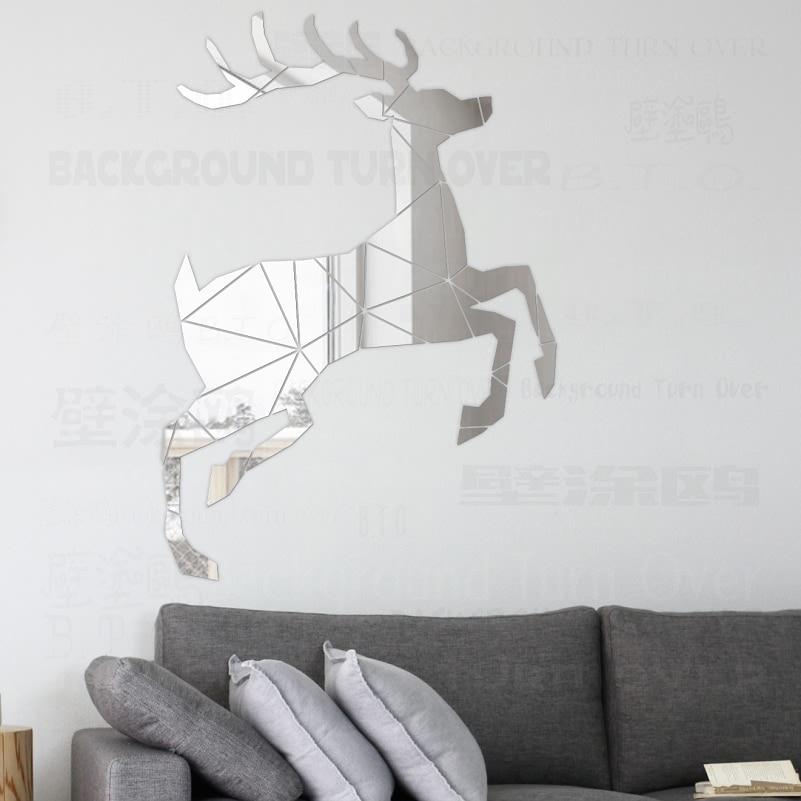 Yaradıcı maralı 3D Dekorativ Güzgü Divar Etiketləri Qonaq - Ev dekoru - Fotoqrafiya 1
