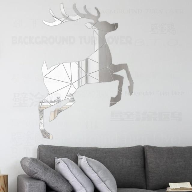 creative reindeer 3d decorative mirror wall stickers living room