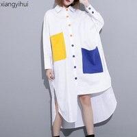 Large Size Punk Rock Asymmetric Long Shirt Women Cotton Turn Down Collar Long Sleeve Blouses Female