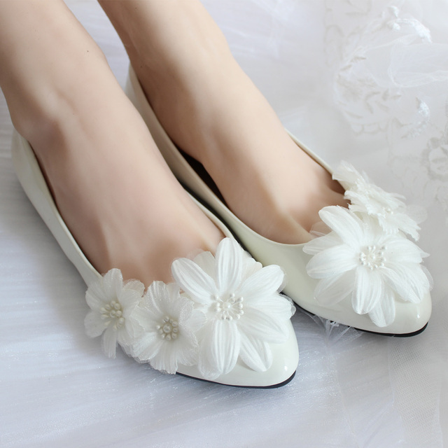Handmade wedding shoes white flat bridal shoes elegant princess ...