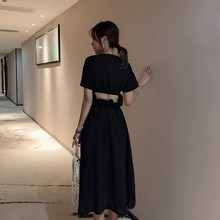 Summer Chiffon Sexy Elastic Open Back A-Line Dress Casual Black O Neck Short Sleeve Midi Dress Hollow Out High Waist Slim Dress недорого
