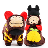 2015 New Monkey Design Cute Fleece Dog Clothes Jumpsuit Winter Warm Pet Puppy Hoodie Coat Jacket