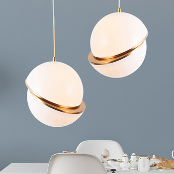 Modern Pendant Lamps Round Glass Ball Pendant Lights Misplaced Half Gar Art Hanging Suspension Lamp Dining Room Lamps PA0005