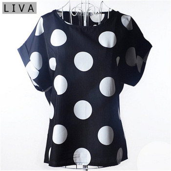 Big Dot Blouse Summer Short Sleeve Women Chiffon Blouse Casual Shirts Thin Women Tops
