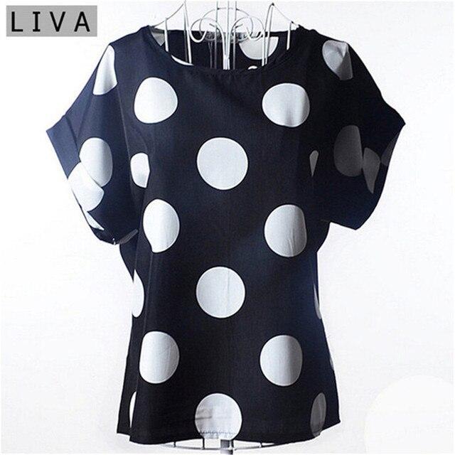 Big Dot bluzka lato z krótkim rękawem kobiety szyfonowa bluzka Casual koszule cienki kobiet topy Blusas stałe panie tanie odzież chiny