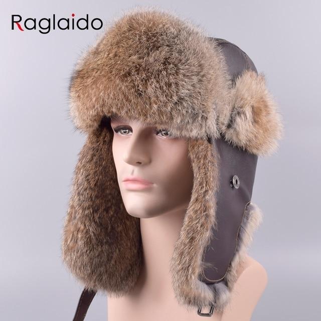 80d620175f9 Raglaido Men s Bomber Hats Caps Winter Aviator Hat made of fur Ear-flap Ushanka  Snow Russian Panama Trapper hat LQ11201-R