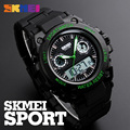 SKMEI Mens Sports Watches 50M Waterproof LED Dual Display Quartz Digital Watch Big Dial Wristwatches Man Relogio Masculino Clock