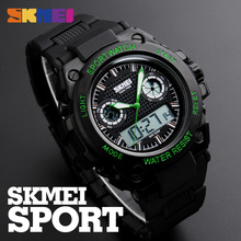 SKMEI Mens Sports Watches 50M Waterproof LED Dual Display Quartz Digital Watch Big Dial Wristwatches Man Relogio Masculino Clock