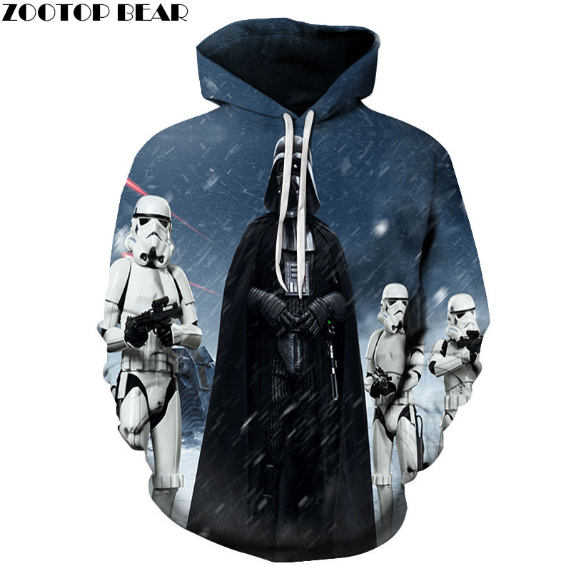 Men's Hoodies Novelty Movie Anime Star Wars Cotton Sweatshirts Tops Casual Tracksuits 3D Drop Ship Long Sleeve Brand ZOOTOP BEAR