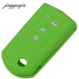Image 3 - Jingyuqin funda de silicona con tapa para mando a distancia para Mazda 3, 5, 6, CX 5, CX 7, RX 8, Miata, 4 botones, mando a distancia plegable