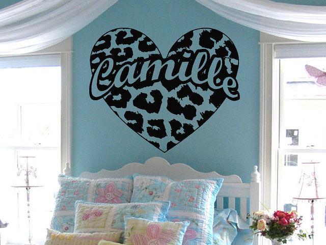 custom names dacals personalized leopard print heart custom name