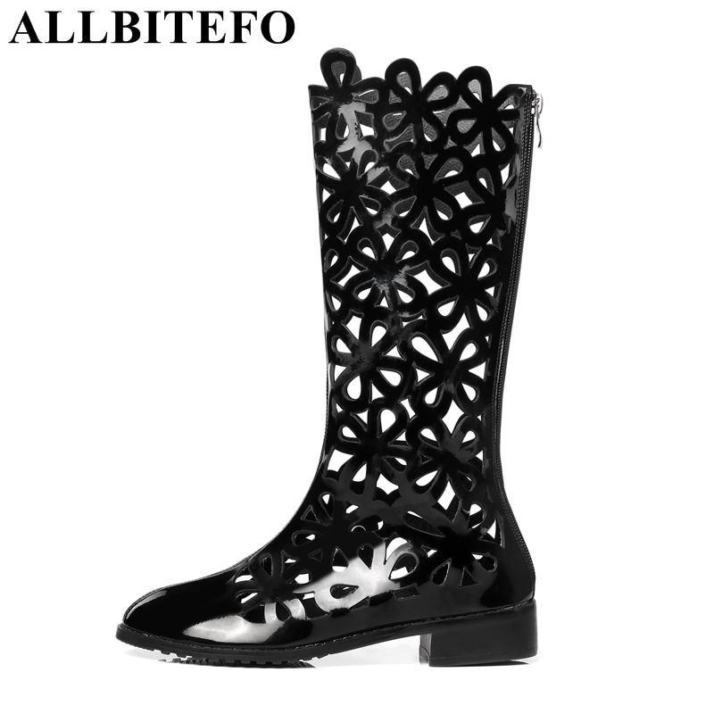 где купить ALLBITEFO 2018 summer Patent leather thick heel cut-outs women boots high quality low-heeled long boots girls shoes size:33-43 по лучшей цене