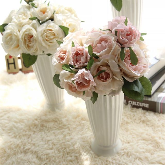 Artificial Flower Bouquet for Wedding 7 Heads French Rose Fake ...