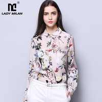 2019 100% Pure Silk Women's Runway Shirts Peter Pan Collar Floral Printed Long Sleeves Ruched Fashion Casual Dresses